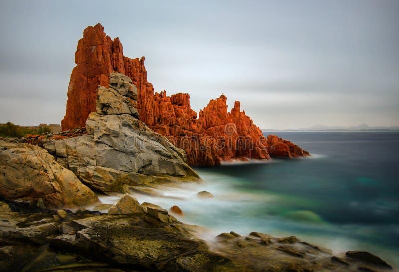 Arbatax红色岩石  库存照片