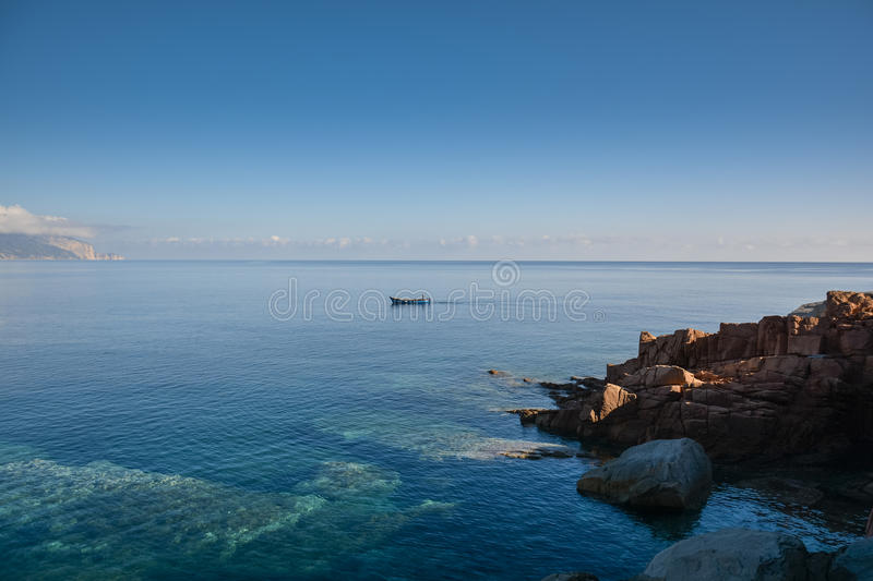 Arbatax with the known red porphyry rocks, Italy royalty free stock photography