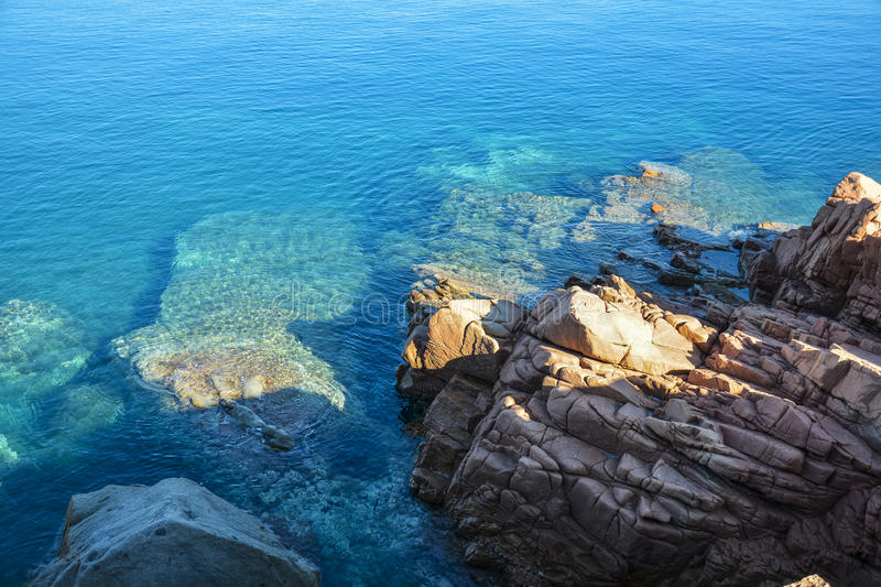 Arbatax with the known red porphyry rocks, Italy royalty free stock photo
