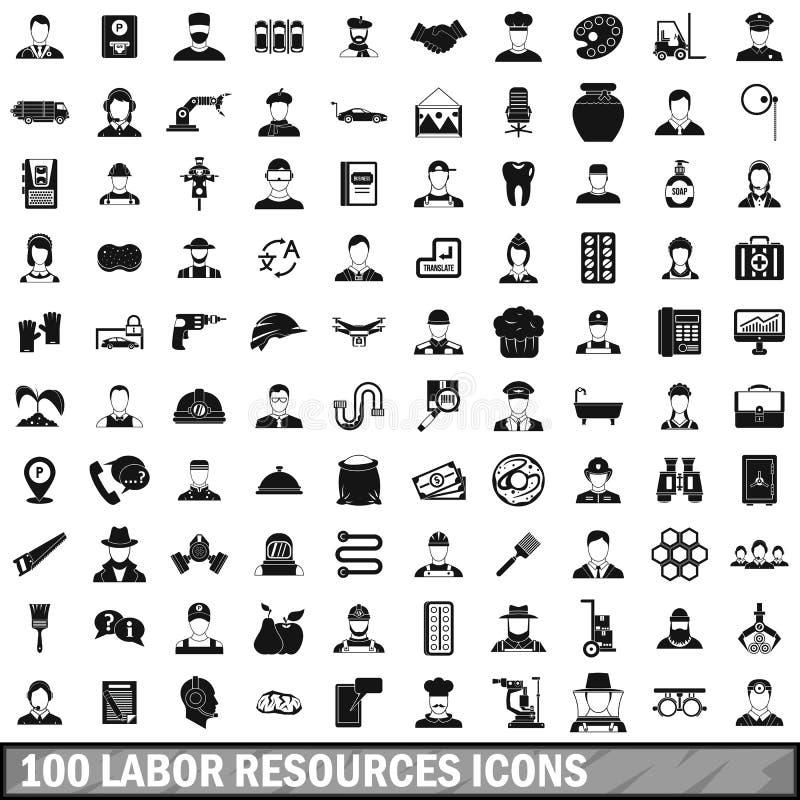 arbeid 100 van middelen voorziet geplaatste pictogrammen, eenvoudige stijl royalty-vrije illustratie