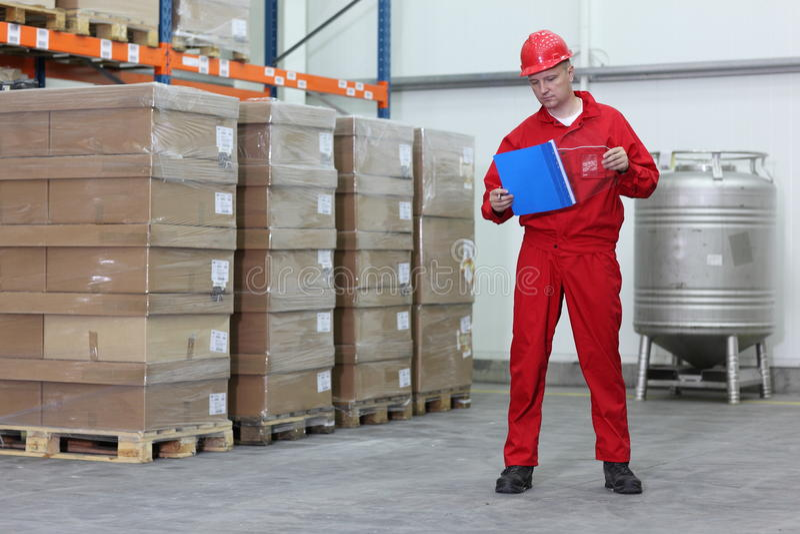 Arbeider in een bedrijfpakhuis royalty-vrije stock afbeelding