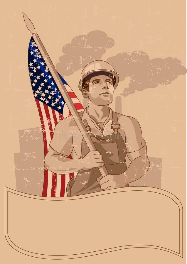 Arbeider en een Amerikaanse vlag royalty-vrije illustratie