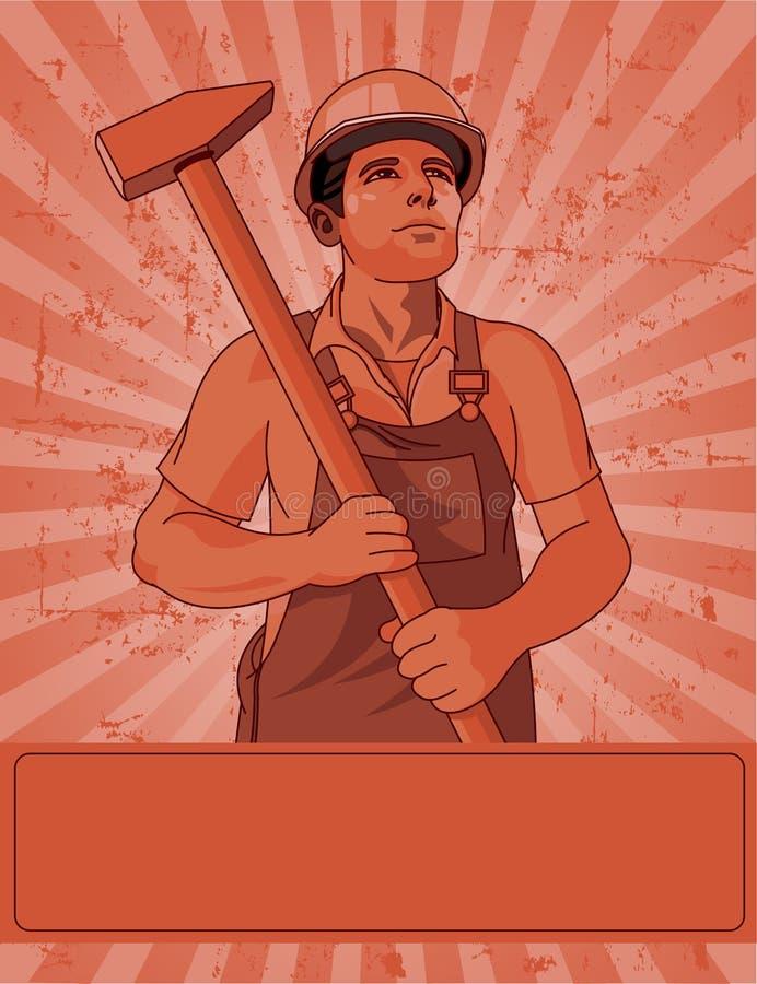 Arbeider en een hamer royalty-vrije illustratie