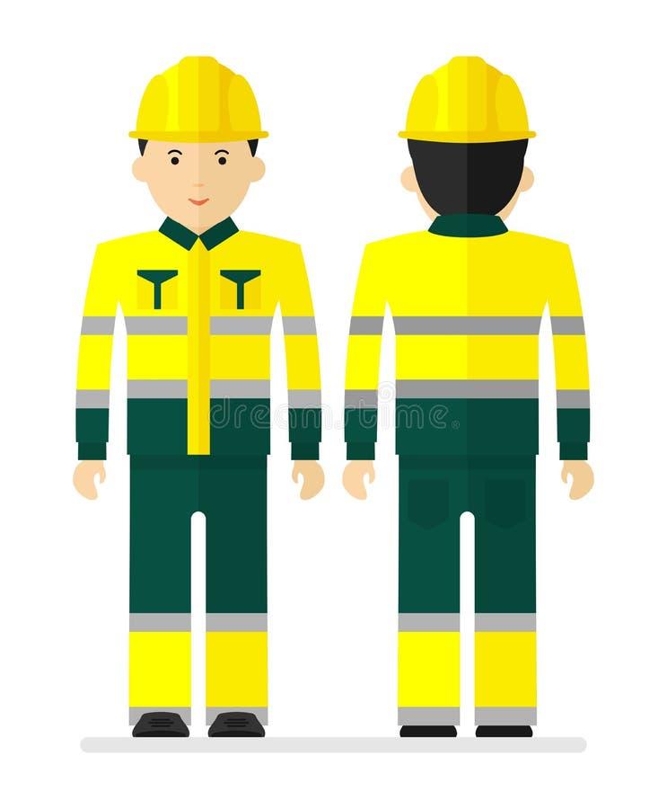 Arbeider in geel het werk beschermend kostuum met het wijzen van op band stock illustratie