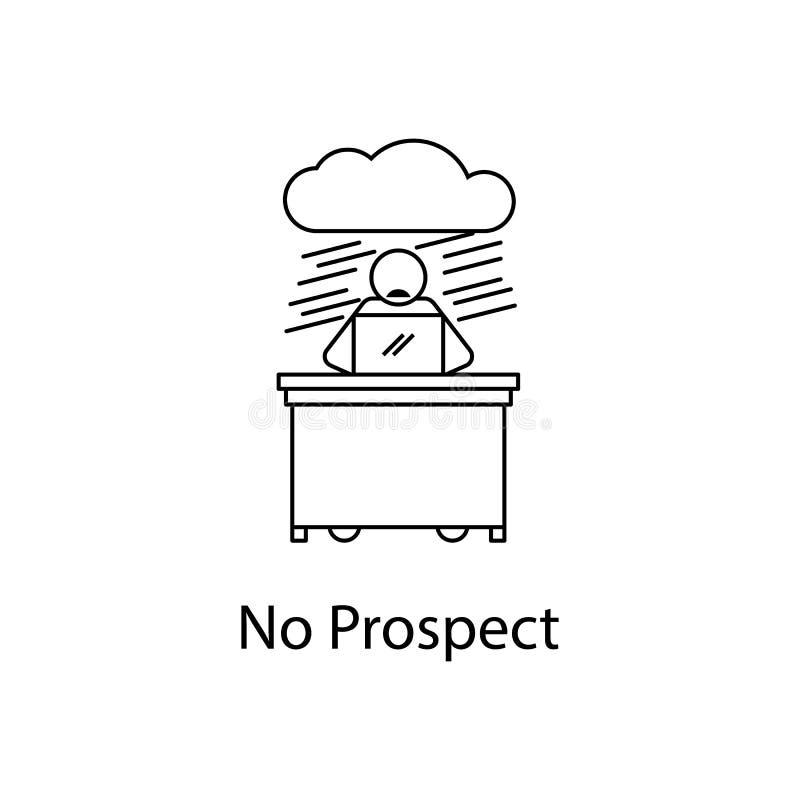 arbeider in geen vooruitzichtpictogram Elementenmensen bij de werkplaats voor mobiel concept en Web apps Dun lijnpictogram voor w royalty-vrije illustratie