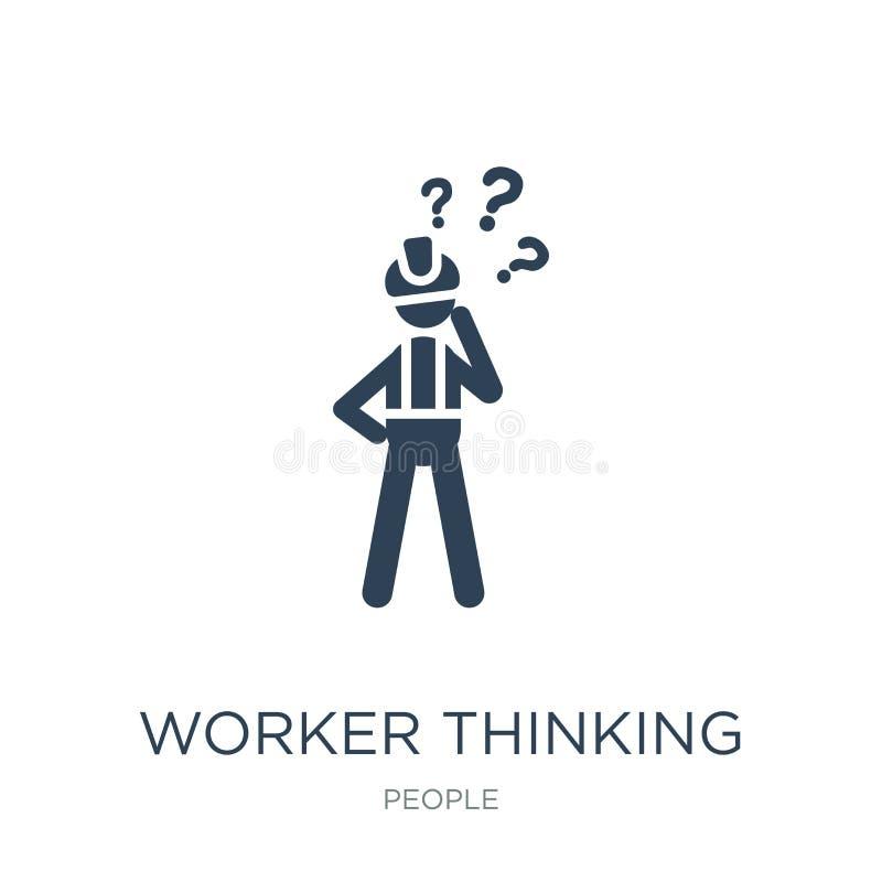 arbeider het denken pictogram in in ontwerpstijl arbeider het denken pictogram op witte achtergrond wordt geïsoleerd die arbeider stock illustratie