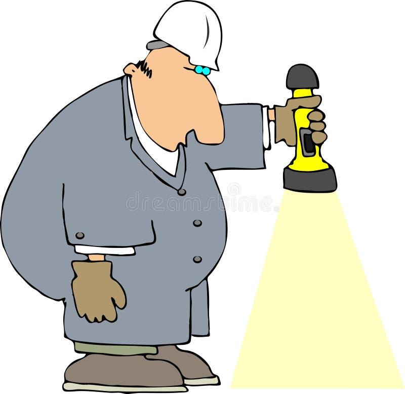 Arbeider met een Flitslicht stock illustratie
