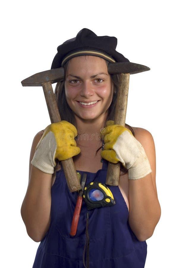 Arbeider met een hamer royalty-vrije stock afbeelding