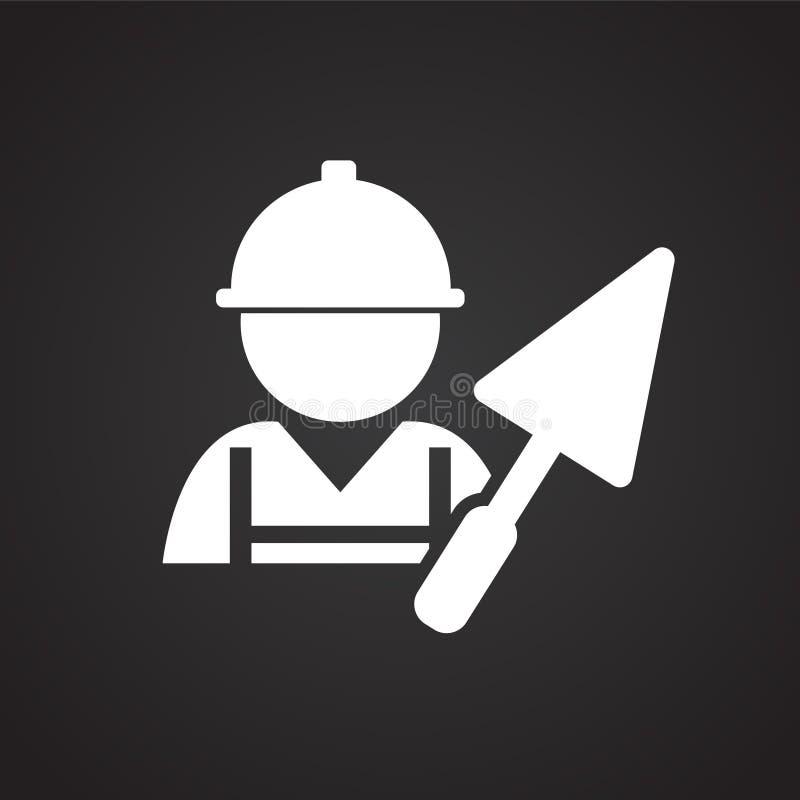 Arbeider met spatel op zwarte achtergrond stock illustratie