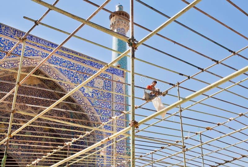 Arbeider op steiger van Imam Mosque stock afbeelding