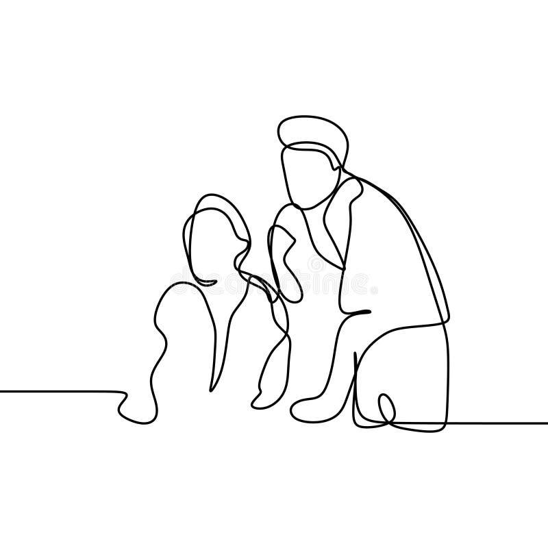 Arbeider twee neemt een van het de tekeningsbureau van de besprekings ononderbroken lijn van de het concepten vectorillustratie m royalty-vrije illustratie