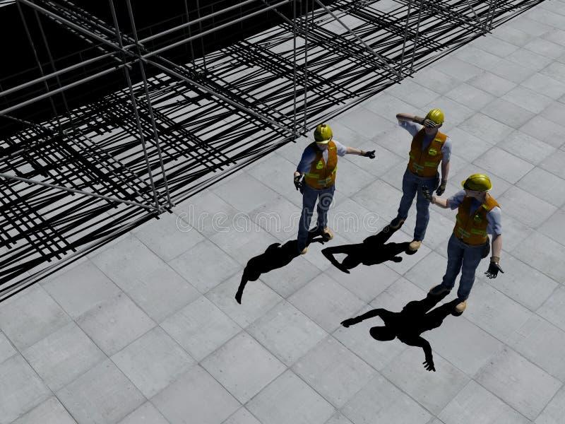 Arbeiders bij een bouwwerf royalty-vrije illustratie
