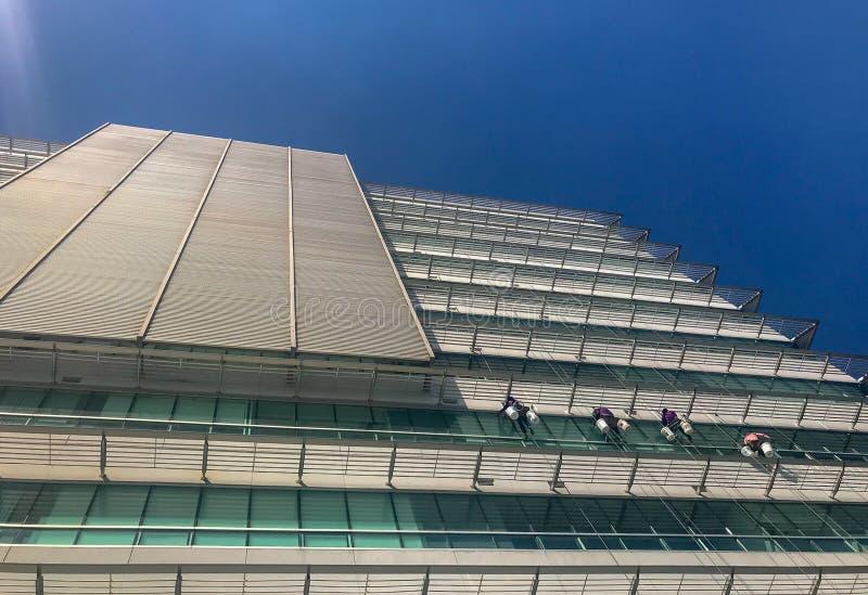 Arbeiders die de venstersdienst bij de hoge stijgingsbouw schoonmaken royalty-vrije stock afbeeldingen