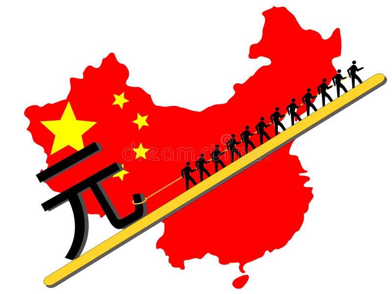 Arbeiders die teken Yuan trekken stock illustratie