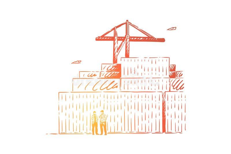 Arbeiders die verslagen in dok, de baan van de pakhuisfaciliteit, de verschepende containers van de kraanlading, sorterende vrach vector illustratie