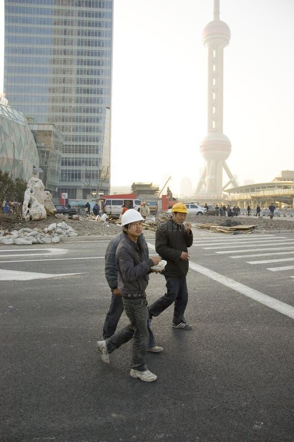 Arbeiders in Shanghai, EXPO 2010 royalty-vrije stock fotografie