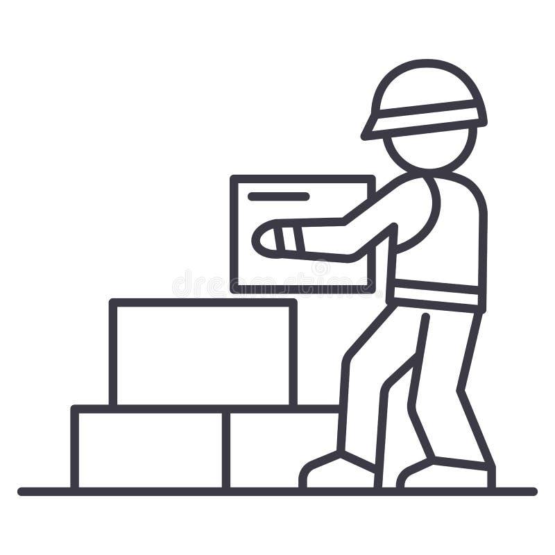 Arbeidersbouwer die pictogram van de bakstenen het vectorlijn, teken, illustratie op achtergrond, editable slagen nemen royalty-vrije illustratie