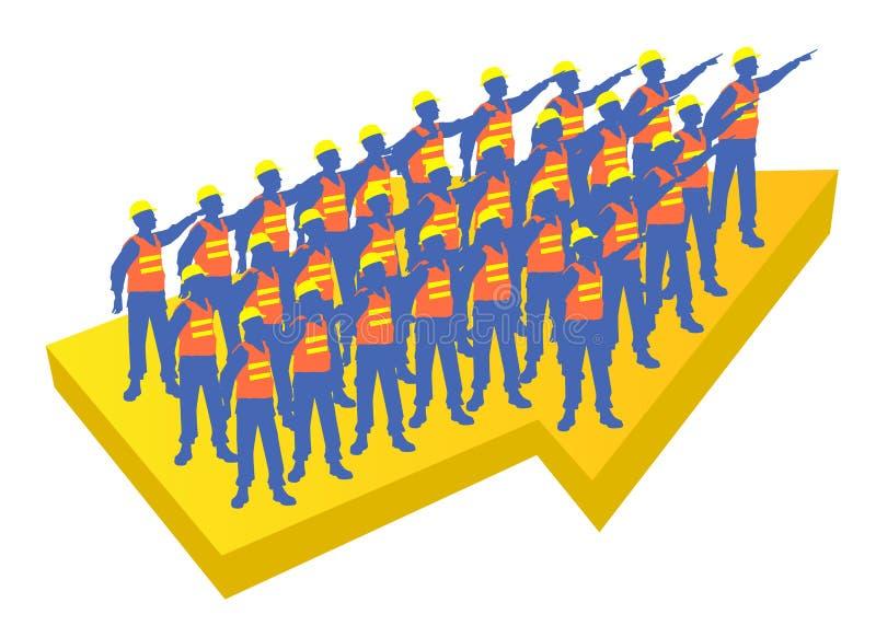 Arbeidersteam die aan dezelfde richting op een gele pijl richten stock fotografie