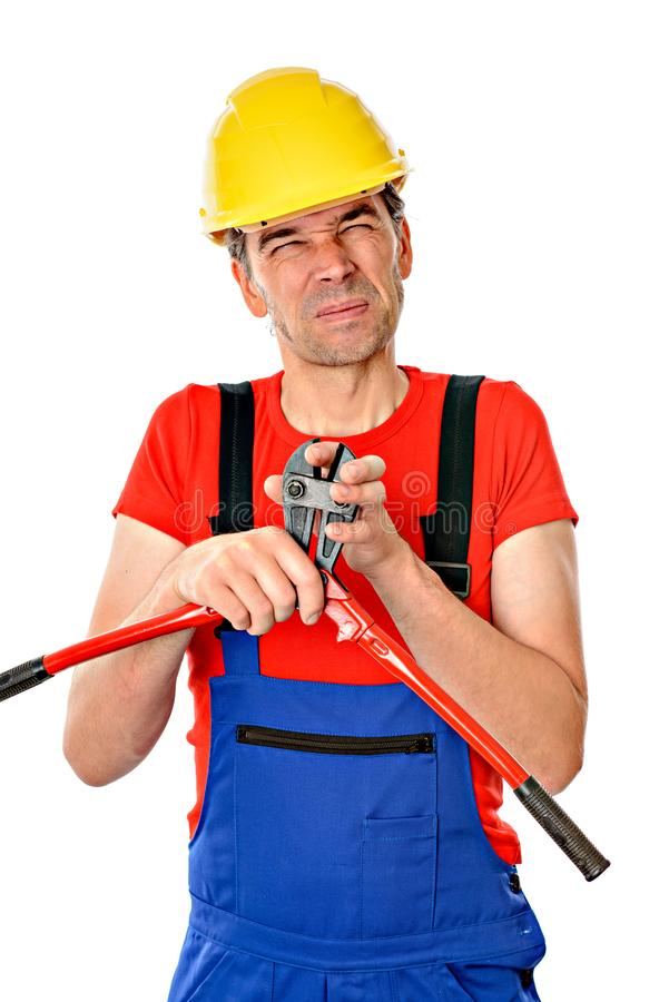 Arbeidsongeval - arbeider met bout-clipper royalty-vrije stock afbeelding