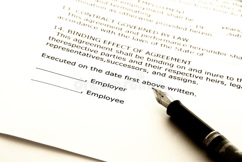 Arbeidsovereenkomst stock afbeelding