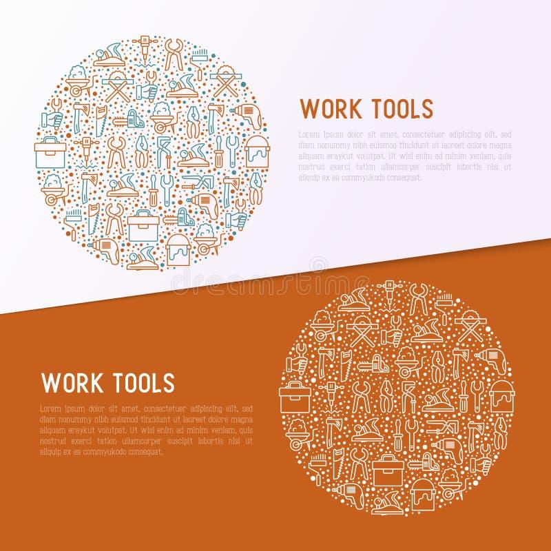 Arbeit bearbeitet Konzept im Kreis stock abbildung