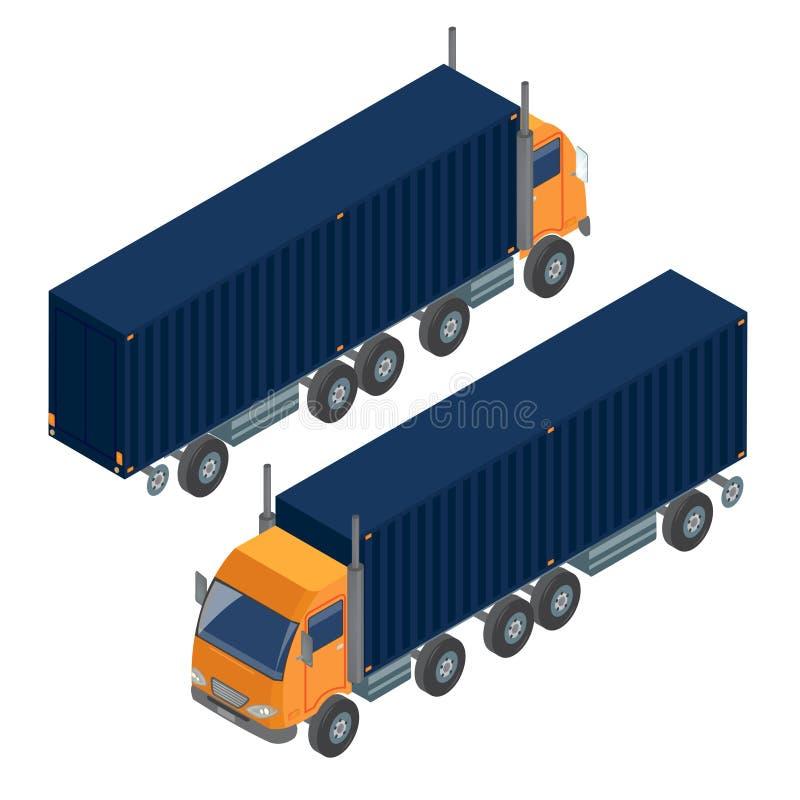 Arbeit der Industrie Isometrischer LKW Isometrischer Transport stock abbildung