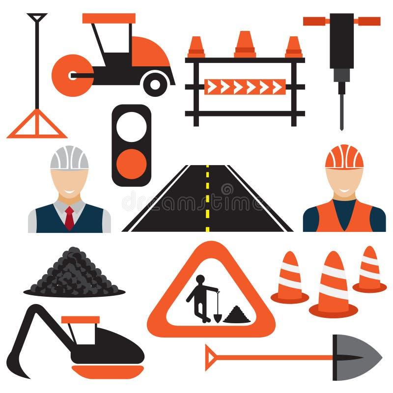 Arbeit, flache Designikonen der Straßenarbeiten lizenzfreie abbildung