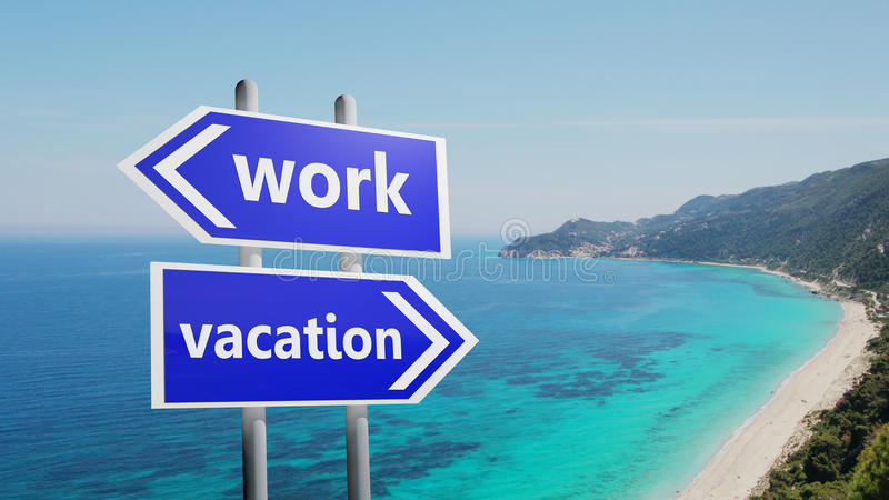 Arbeit oder Ferien stockbild