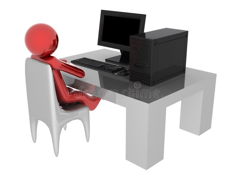 Arbeiten an Computer lizenzfreie abbildung