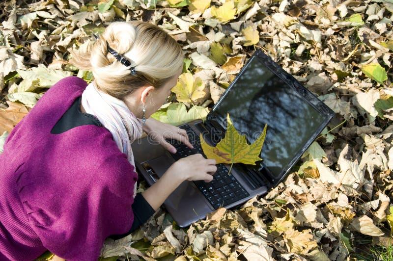 Arbeiten an Computer in der Natur stockfoto