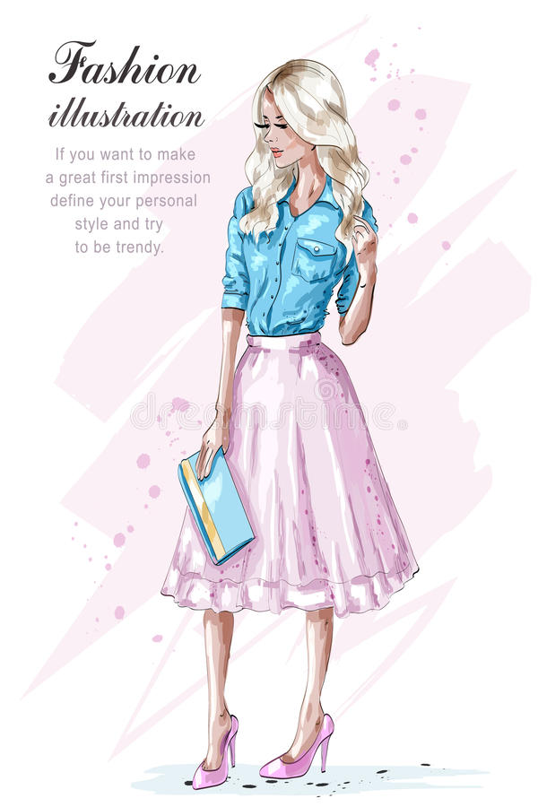 Arbeiten Sie blondes Mädchen im rosa Rock um und Handtasche halten Hand gezeichnete Modefrau skizze stock abbildung