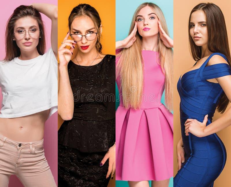 Arbeiten Sie Collage von Bildern von schönen jungen Frauen um Schöne reizvolle Mädchen lizenzfreie stockfotografie