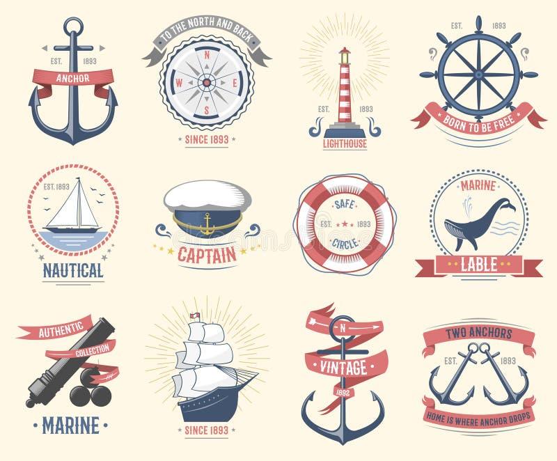 Arbeiten Sie das Seelogo um, das themenorientierten Aufkleber oder Ikone mit Schiffszeichenankertau-Lenkrad- und Bandreiseelement stock abbildung