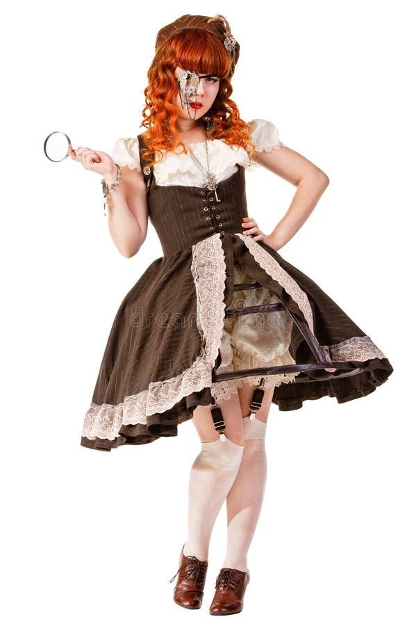 Arbeiten Sie den Schuß der Frau gekleidet in der Puppeart um lizenzfreies stockbild