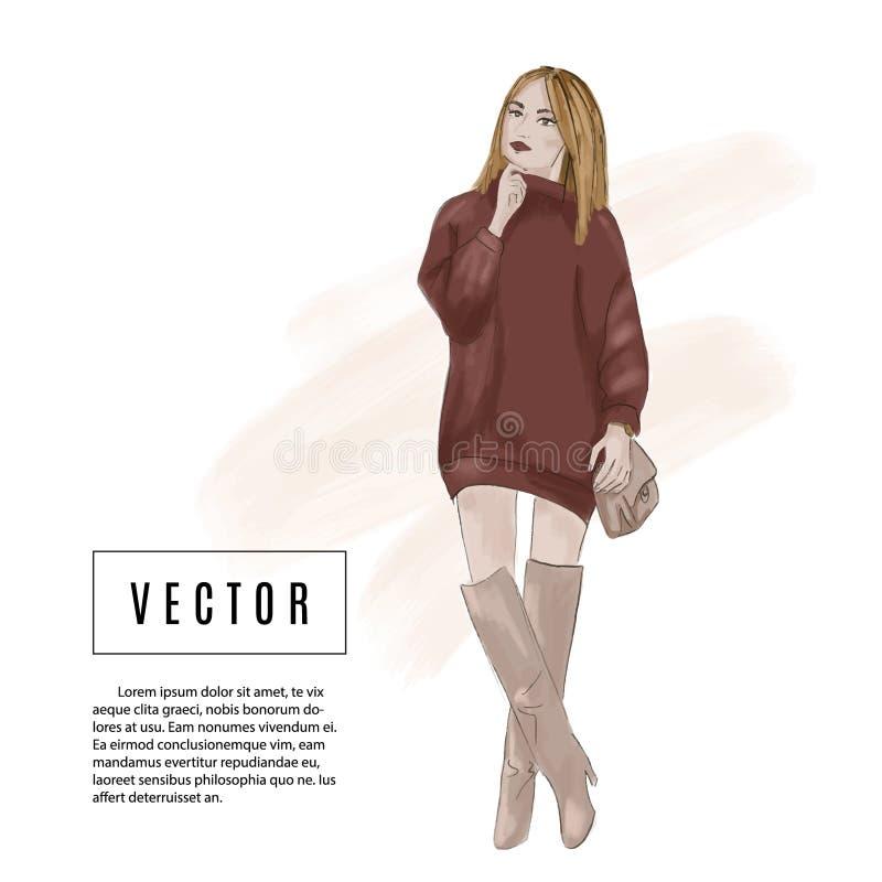 Arbeiten Sie Druck mit Zauberfrau im Überformatkleid und in den Stiefeln um Romantische Zeichnung der Skizzenart Moderner Straßen stock abbildung