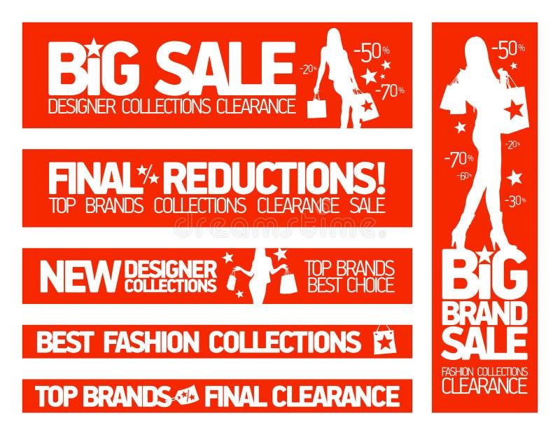 Arbeiten Sie Fahnen für Verkauf und neues Kleidung collecti um stock abbildung
