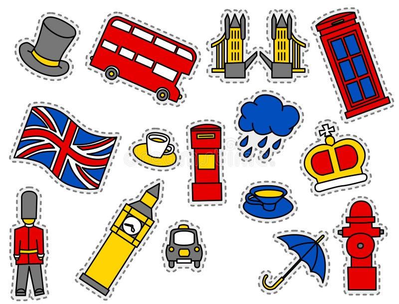 Arbeiten Sie Flecken-Ausweise mit London-` s Symbolen um vektor abbildung