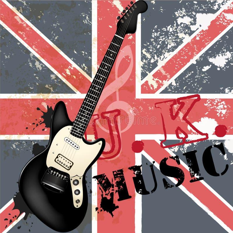 Arbeiten Sie Grungemusikhintergrund mit Bass-Gitarre und britischem Florida um vektor abbildung