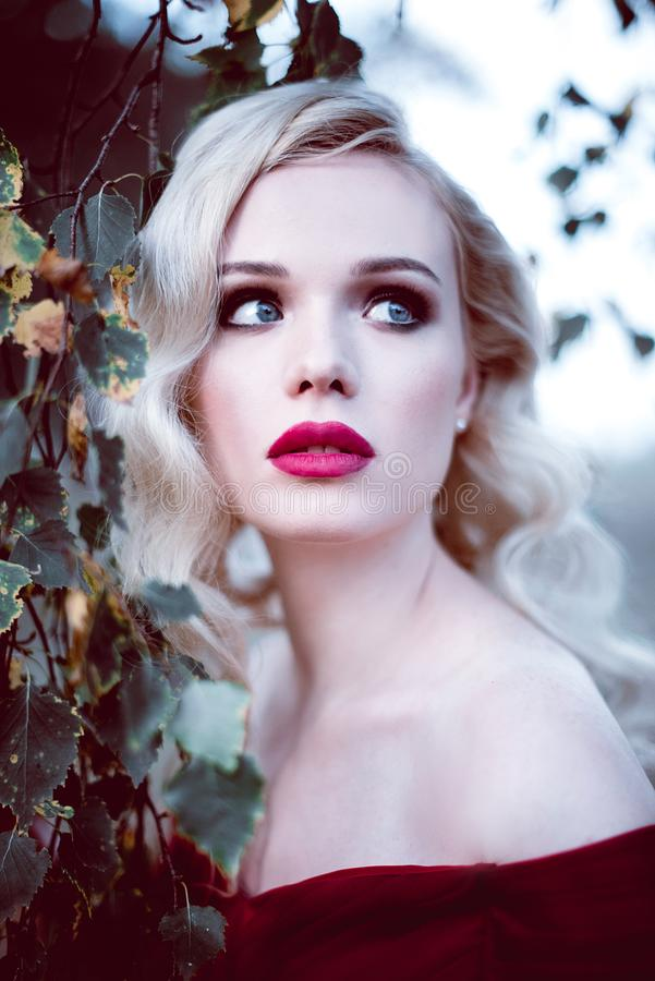 Arbeiten Sie herrliche junge Blondine im schönen roten Kleid in einer Märchenwaldmagieatmosphäre um Retouched Schuss tonend stockbilder