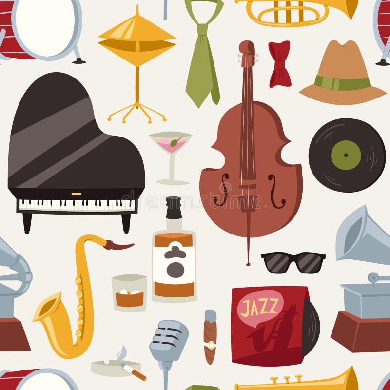 Arbeiten Sie Jazzbandmusik-Parteisymbole und Musikinstrumenttonkonzert akustisches Blau nahtlose der Bass-Designvektor um vektor abbildung