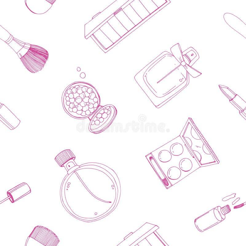 Arbeiten Sie Kosmetik um, die nahtloses Muster mit Künstlergegenstände bilden Bunte gezeichnete Illustration des Vektors Hand stock abbildung