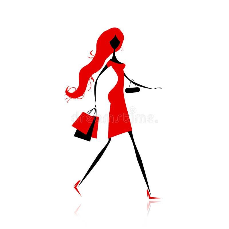 Arbeiten Sie Mädchen mit Einkaufenbeuteln für Ihre Auslegung um vektor abbildung