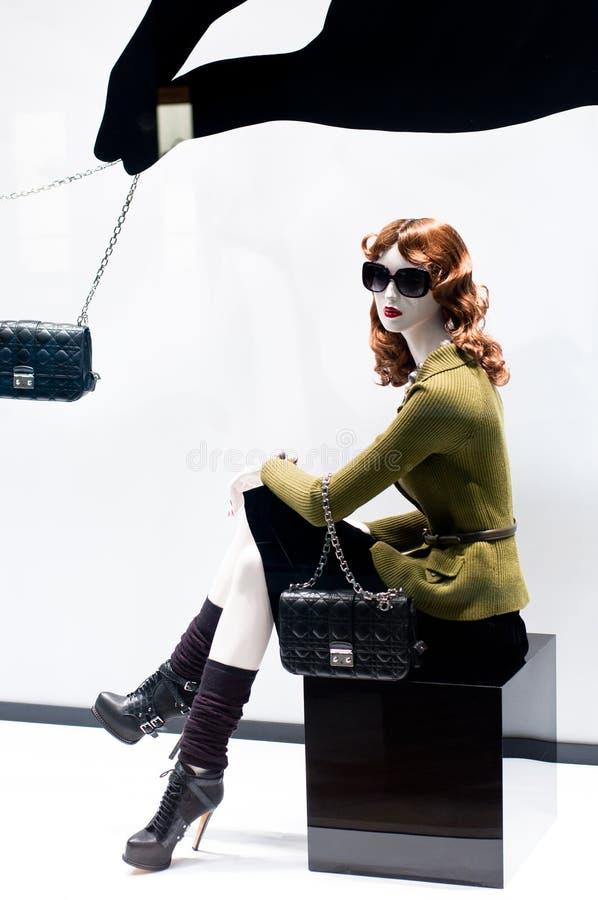 Arbeiten Sie Mannequin-Bildschirmanzeige um stockbild
