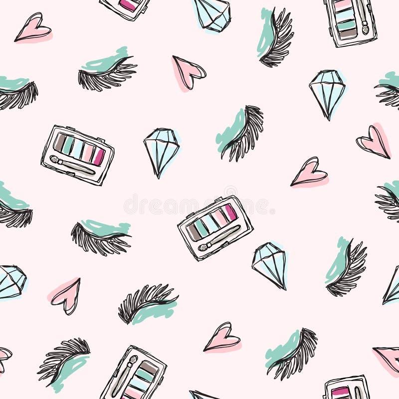 Arbeiten Sie Muster mit Kristalllidschatten der geschlossenen Augen und rosa Herzen um Hellrosa Hintergrund vektor abbildung