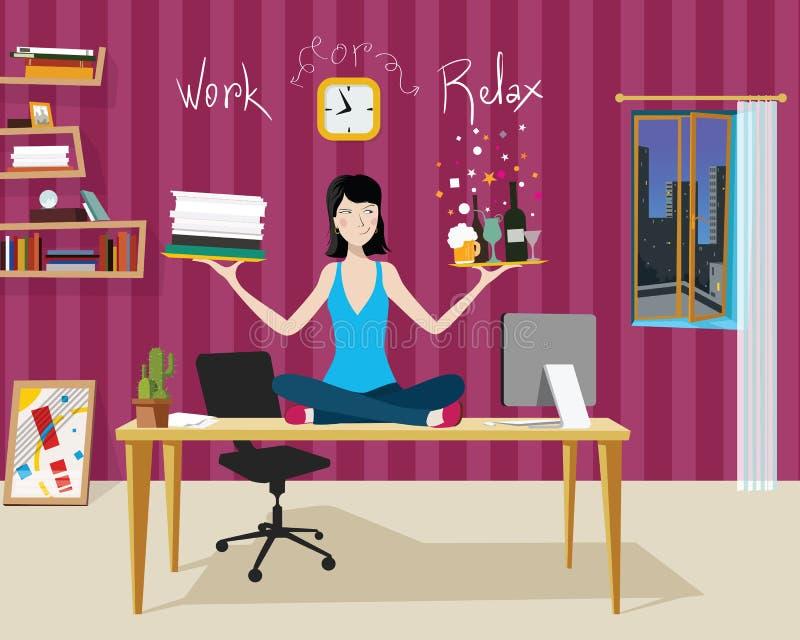 Arbeiten Sie oder entspannen Sie sich vektor abbildung