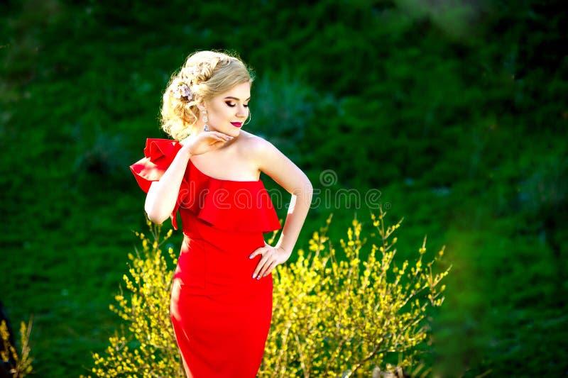 Arbeiten Sie Porträt der Frau mit dem langen Haar im roten Kleid auf einem grünen natürlichen Hintergrund um stockfoto