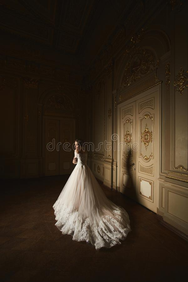 Arbeiten Sie Porträt der Schönheit im langen eleganten weißen Kleid um Mädchen mit eleganter Frisur Brautmode-modell herein lizenzfreie stockbilder