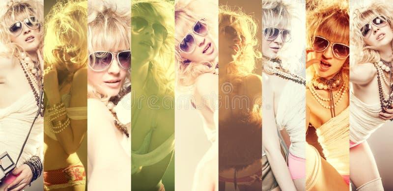 Arbeiten Sie Porträt tragenden Sonnenbrille einer der schönen jungen Frau um stockfotos