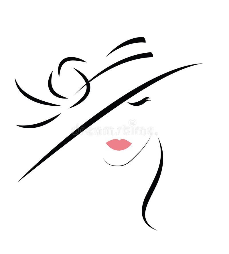 Arbeiten Sie Portrait der schönen Frau im schwarzen Hut um stock abbildung