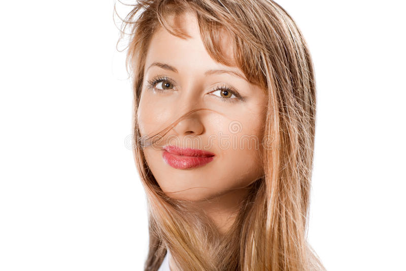 Arbeiten Sie Portrait des schönen blonden Mädchens um stockfoto